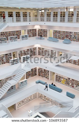 STUTTGART, GERMANY - JULY 2: The Stuttgart City Library on July 2, 2012 in Stuttgart, Germany.  The library, opened in October 2011, was designed by Yi Architects and has more than 500,000 books. - stock photo