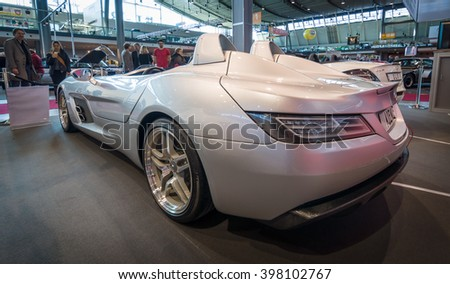 "STUTTGART, GERMANY- MARCH 17, 2016: Grand tourer car Mercedes-Benz SLR Stirling Moss (limited edition, 75 vehicles), 2009. Rear view. Europe's greatest classic car exhibition ""RETRO CLASSICS"" - stock photo"