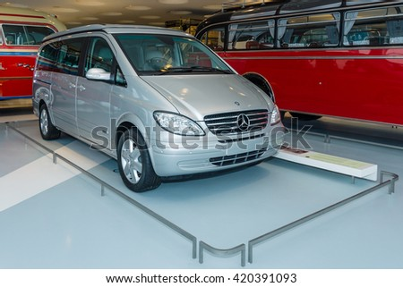 STUTTGART, GERMANY- MARCH 19, 2016: Light commercial vehicle Mercedes-Benz Viano Marco Polo CDI 2.2, (W639), 2005. Mercedes-Benz Museum. - stock photo
