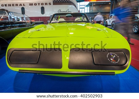 "STUTTGART, GERMANY - MARCH 17, 2016: Race car Plymouth Superbird Convertible (produced in a single copy), 1970. Europe's greatest classic car exhibition ""RETRO CLASSICS"" - stock photo"
