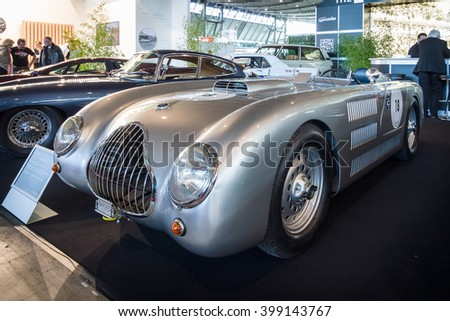 "STUTTGART, GERMANY - MARCH 17, 2016: Racing car Veritas RS with the 6-cylinder engine of the BMW 328, 1949. Europe's greatest classic car exhibition ""RETRO CLASSICS"" - stock photo"