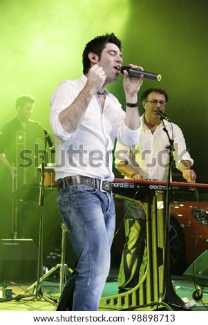 STUTTGART, GERMANY - MARCH 24: Singer Sascha Pierro of the group Marquess live in concert on stage at the festival March 24, 2012 in Stuttgart, Germany - stock photo