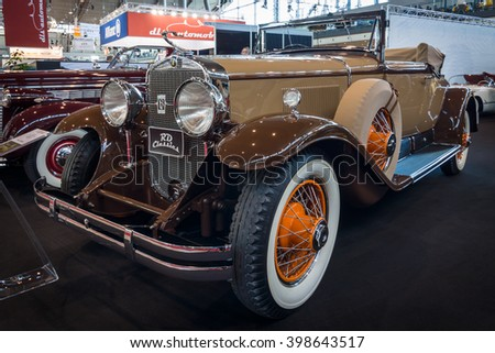 """STUTTGART, GERMANY - MARCH 17, 2016: Vintage car Cadillac 341B Convertible, 1929. Europe's greatest classic car exhibition """"RETRO CLASSICS"""" - stock photo"""