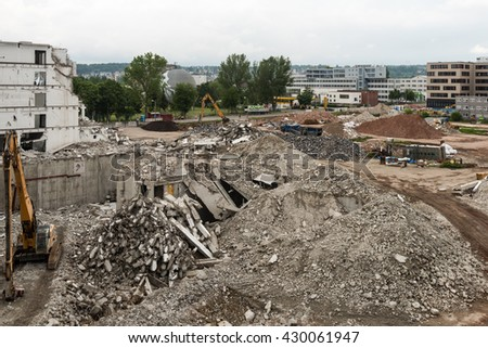 Stuttgart, Germany - May 29, 2016: Demolition work on the former buildings of the KNV Group in Stuttgart, Germany. The KNV Group, book wholesaler, moved their warehouses to the Eastern parts of - stock photo