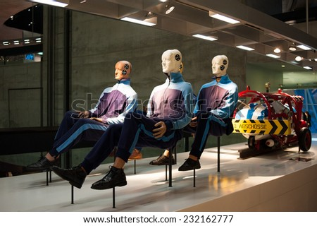 "STUTTGART, GERMANY - NOVEMBER 04, 2011: Interior and exhibits of Museum ""Mercedes-Benz Welt""  - stock photo"