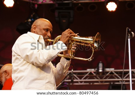 "STUTTGART-JULY 01: Musicians from the ""B.B. King Band"" in concert at Jazzopen Stuttgart July 01, 2011 in Stuttgart, Germany - stock photo"