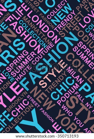 STYLE and FASHION word cloud concept. - stock photo