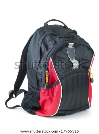 Style black with red colored backpack isolated over white background - stock photo