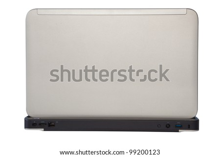 Style compact white laptop isolated over white - stock photo