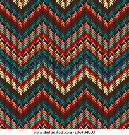 Style Knitted Pattern. Red Blue Brown Yellow Orange Color Illustration - stock photo