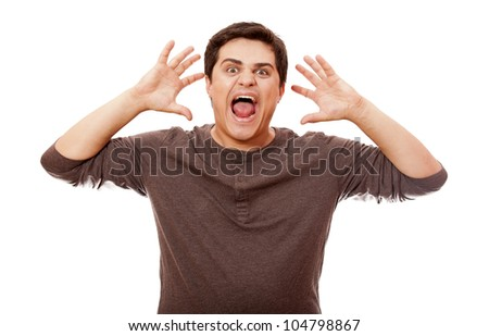 Style man cry at white background. - stock photo
