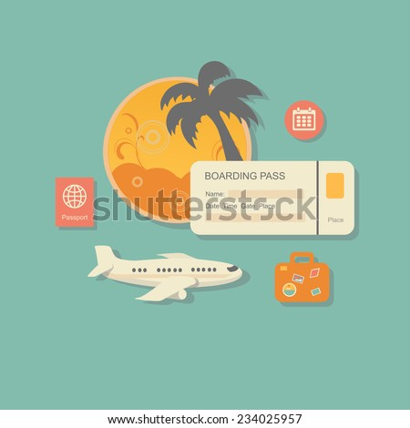 style modern  illustration concept of planning a summer vacation, online booking a ticket on a trip, flying a plane to travel destination. Isolated on stylish background. Flat - stock photo