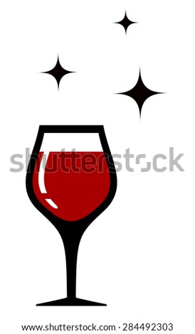style wine glass icon for restaurant wine card - stock photo