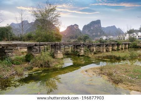 styled bridge in Jingxi, Guangxi, China - stock photo