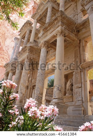 styled picture - Ephesus - Library of Celseus - stock photo