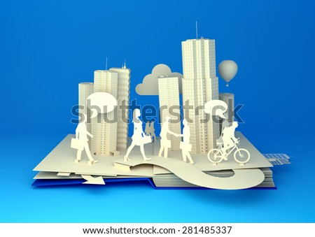 Styled pop-up book city with busy urban city people. 3D illustration - stock photo