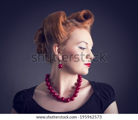 Styled  Woman with Retro Golden Hair Style.  - stock photo