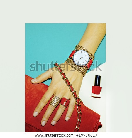 Stylish Accessories. Red is always a trend. Fashion Jewelery and Bags. - stock photo
