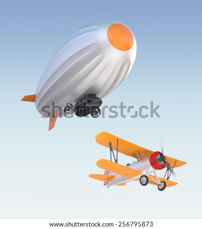 Stylish airship flying in the blue sky - stock photo