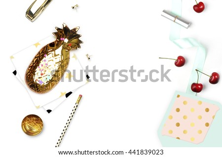 Stylish background. Stationery with envelope, cherry and pattern. Woman desk, flat lay. - stock photo