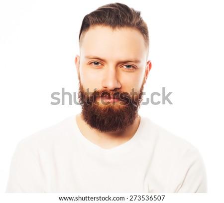 Stylish bearded man in white shirt. Close up portrait over white background. - stock photo