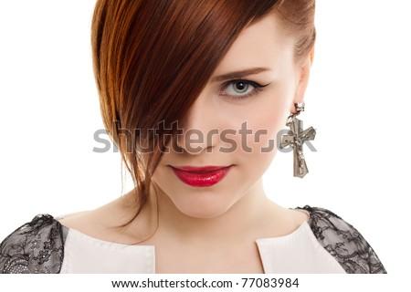 stylish beautiful woman portrait on white background - stock photo