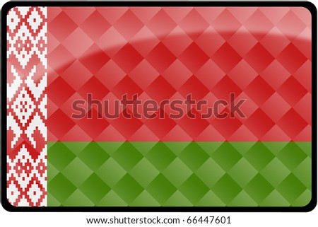 Stylish Belarussian flag rectangular button with diamond pattern overlay.  Part of set of country flags all in 2:3 proportion with accurate design and colors. - stock photo