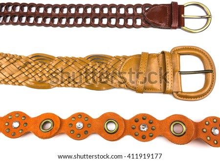 stylish belts for women on a white background - stock photo