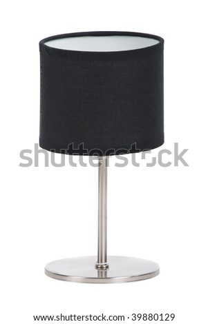 stylish black lamp over white background - stock photo