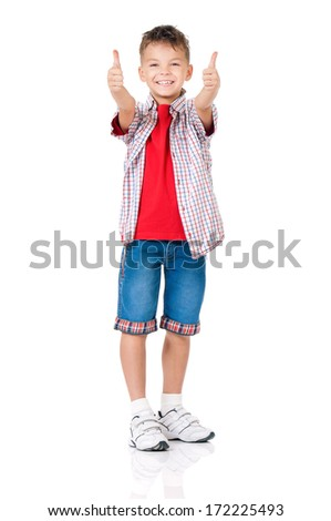 Stylish boy over white background full length showing thumbs up  - stock photo
