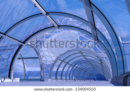 Stylish building inside against the sky. - stock photo