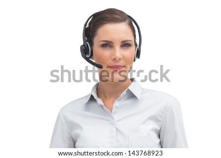 Stylish businesswoman with headset on a white background - stock photo