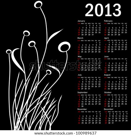 Stylish calendar with flowers for 2013. Week starts on Sunday. - stock photo