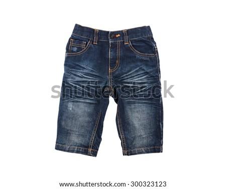 stylish children denim shorts for boy isolated on white background - stock photo