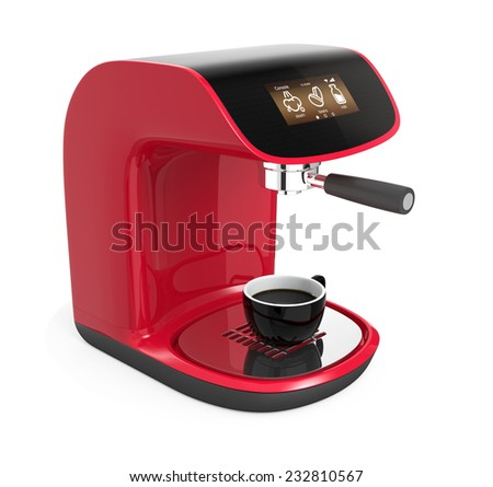 Stylish coffee machines with touch screen isolated on white background.Original design - stock photo