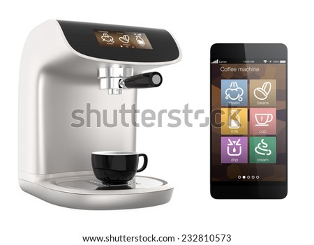 Stylish coffee machines with touch screen isolated on white background. Original design - stock photo