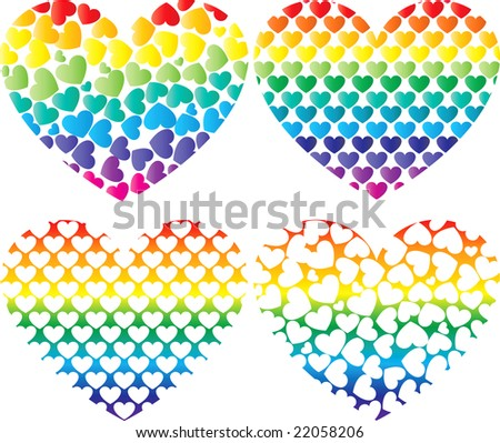 Stylish colorful heart icons. This illustration in vector - in my portfolio. - stock photo