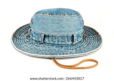 Stylish cowboy hat made of denim over white background - stock photo