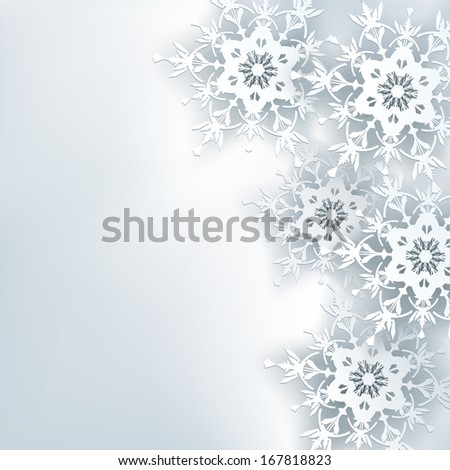 Stylish creative abstract background, 3d snowflake. Winter gray background with white ornate snowflakes. New Year and Christmas celebratory card with place for text. Winter wallpaper. Raster version - stock photo