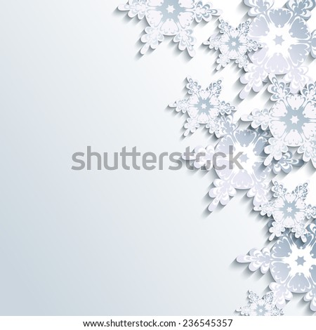 Stylish creative gray background with abstract 3d snowflake. Trendy winter wallpaper with white and grey ornate snowflakes. Beautiful New Year and Christmas card with place for text.  - stock photo