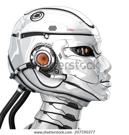 Stylish cyborg head in profile isolated on white background - stock photo