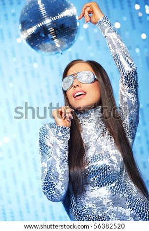 Stylish dancing woman in the club - stock photo