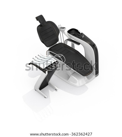 Stylish dentist chair isolated on white background. Clipping path available. Original design. - stock photo