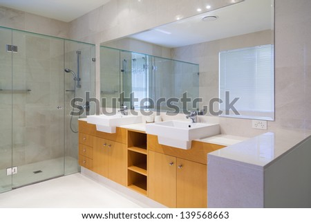 Stylish double bathroom - stock photo