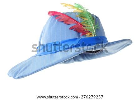 stylish fashion elegant hat with colorful feathers isolated on white background - stock photo