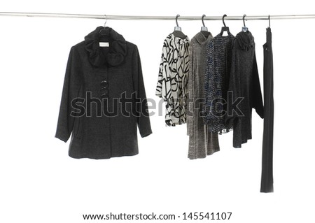 stylish female clothes on a hanger - stock photo