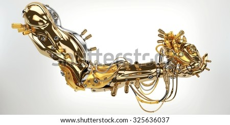 Stylish gold robot arm holds artificial futuristic heart - stock photo