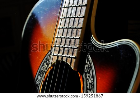 stylish guitar - stock photo