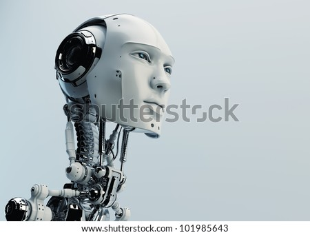 Stylish handsome cyborg head in profile / Futuristic man - stock photo