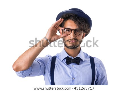 Stylish hipster with glasses, hat and bow-tie - stock photo